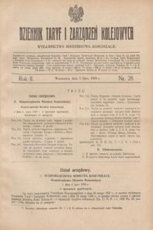 Dziennik Taryf i Zarządzeń Kolejowych : wydawnictwo Ministerstwa Komunikacji. R.2, nr 28 (5 lipca 1929)