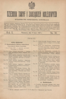 Dziennik Taryf i Zarządzeń Kolejowych : wydawnictwo Ministerstwa Komunikacji. R.2, nr 30 (30 lipca 1929)