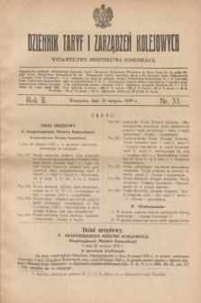 Dziennik Taryf i Zarządzeń Kolejowych : wydawnictwo Ministerstwa Komunikacji. R.2, nr 33 (30 sierpnia 1929)
