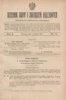 Dziennik Taryf i Zarządzeń Kolejowych : wydawnictwo Ministerstwa Komunikacji. R.2, nr 34 (4 września 1929)