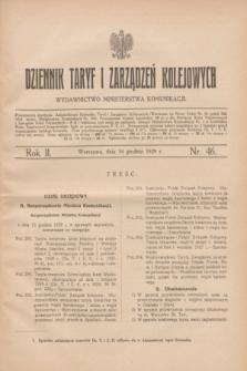 Dziennik Taryf i Zarządzeń Kolejowych : wydawnictwo Ministerstwa Komunikacji. R.2, nr 46 (14 grudnia 1929)