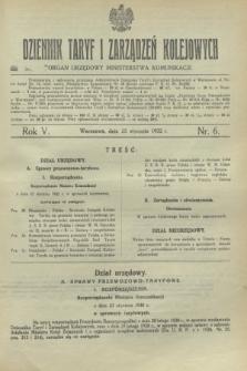 Dziennik Taryf i Zarządzeń Kolejowych : organ urzędowy Ministerstwa Komunikacji. R.5, nr 6 (25 stycznia 1932)