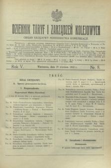 Dziennik Taryf i Zarządzeń Kolejowych : organ urzędowy Ministerstwa Komunikacji. R.5, nr 8 (29 stycznia 1932)