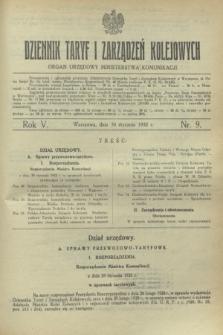 Dziennik Taryf i Zarządzeń Kolejowych : organ urzędowy Ministerstwa Komunikacji. R.5, nr 9 (30 stycznia 1932)