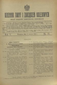 Dziennik Taryf i Zarządzeń Kolejowych : organ urzędowy Ministerstwa Komunikacji. R.5, nr 33 (11 czerwca 1932)