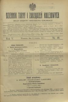 Dziennik Taryf i Zarządzeń Kolejowych : organ urzędowy Ministerstwa Komunikacji. R.5, nr 48 (14 września 1932)