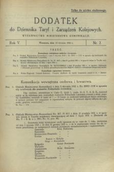 Dodatek do Dziennika Taryf i Zarządzeń Kolejowych. R.5, nr 2 (15 stycznia 1932)