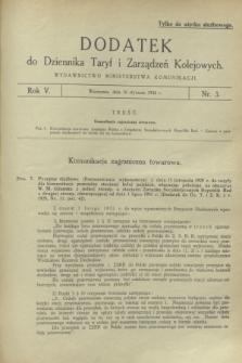 Dodatek do Dziennika Taryf i Zarządzeń Kolejowych. R.5, nr 3 (16 stycznia 1932)