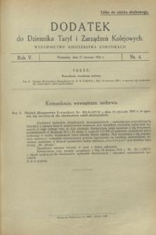 Dodatek do Dziennika Taryf i Zarządzeń Kolejowych. R.5, nr 4 (27 stycznia 1932)