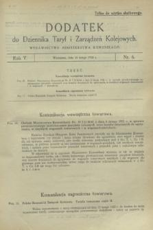 Dodatek do Dziennika Taryf i Zarządzeń Kolejowych. R.5, nr 6 (16 lutego 1932)