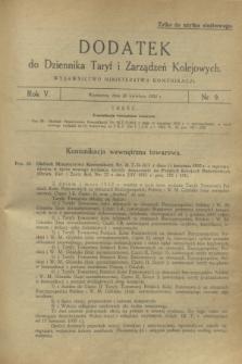 Dodatek do Dziennika Taryf i Zarządzeń Kolejowych. R.5, nr 9 (20 kwietnia 1932)