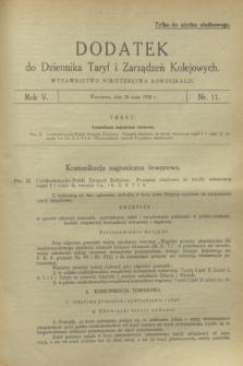 Dodatek do Dziennika Taryf i Zarządzeń Kolejowych. R.5, nr 11 (28 maja 1932)