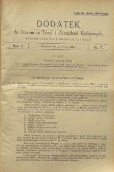 Dodatek do Dziennika Taryf i Zarządzeń Kolejowych. R.5, nr 17 (22 września 1932)
