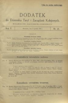 Dodatek do Dziennika Taryf i Zarządzeń Kolejowych. R.5, nr 25 (31 grudnia 1932)