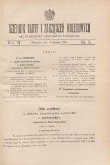 Dziennik Taryf i Zarządzeń Kolejowych : organ urzędowy Ministerstwa Komunikacji. R.6, nr 3 (17 stycznia 1933)