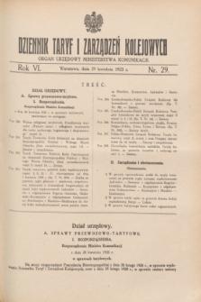 Dziennik Taryf i Zarządzeń Kolejowych : organ urzędowy Ministerstwa Komunikacji. R.6, nr 29 (29 kwietnia 1933)