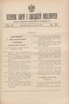 Dziennik Taryf i Zarządzeń Kolejowych : organ urzędowy Ministerstwa Komunikacji. R.6, nr 38 (14 czerwca 1933)