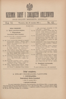Dziennik Taryf i Zarządzeń Kolejowych : organ urzędowy Ministerstwa Komunikacji. R.6, nr 63 (29 września 1933)