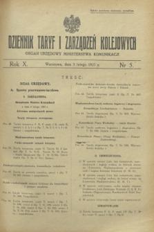 Dziennik Taryf i Zarządzeń Kolejowych : organ urzędowy Ministerstwa Komunikacji. R.10, nr 5 (5 lutego 1937)