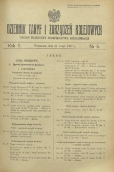 Dziennik Taryf i Zarządzeń Kolejowych : organ urzędowy Ministerstwa Komunikacji. R.10, nr 6 (12 lutego 1937)