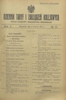 Dziennik Taryf i Zarządzeń Kolejowych : organ urzędowy Ministerstwa Komunikacji. R.10, nr 14 (1 kwietnia 1937)