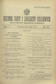 Dziennik Taryf i Zarządzeń Kolejowych : organ urzędowy Ministerstwa Komunikacji. R.10, nr 20 (14 maja 1937)