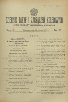Dziennik Taryf i Zarządzeń Kolejowych : organ urzędowy Ministerstwa Komunikacji. R.10, nr 35 (27 sierpnia 1937)