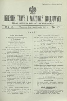 Dziennik Taryf i Zarządzeń Kolejowych : organ urzędowy Ministerstwa Komunikacji. R.9 [i.e.10], nr 42 (8 października 1937)
