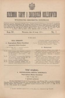 Dziennik Taryf i Zarządzeń Kolejowych : wydawnictwo Ministerstwa Komunikacji. R.4, nr 7 (28 lutego 1931)