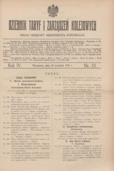 Dziennik Taryf i Zarządzeń Kolejowych : organ urzędowy Ministerstwa Komunikacji. R.4, nr 33 (30 września 1931)