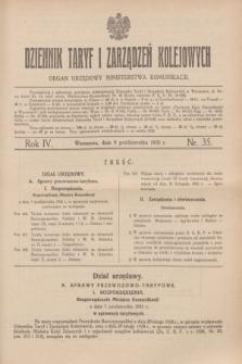 Dziennik Taryf i Zarządzeń Kolejowych : organ urzędowy Ministerstwa Komunikacji. R.4, nr 35 (8 października 1931)