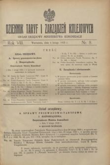 Dziennik Taryf i Zarządzeń Kolejowych : organ urzędowy Ministerstwa Komunikacji. R.8, nr 8 (6 lutego 1935)