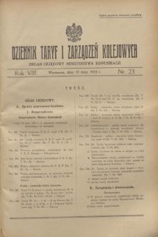 Dziennik Taryf i Zarządzeń Kolejowych : organ urzędowy Ministerstwa Komunikacji. R.8, nr 23 (15 maja 1935) + wkładka