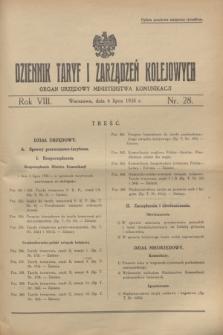 Dziennik Taryf i Zarządzeń Kolejowych : organ urzędowy Ministerstwa Komunikacji. R.8, nr 28 (6 lipca 1935)