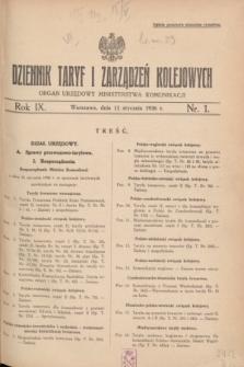 Dziennik Taryf i Zarządzeń Kolejowych : organ urzędowy Ministerstwa Komunikacji. R.9, nr 1 (11 stycznia 1936)