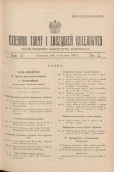 Dziennik Taryf i Zarządzeń Kolejowych : organ urzędowy Ministerstwa Komunikacji. R.9, nr 2 (15 stycznia 1936)