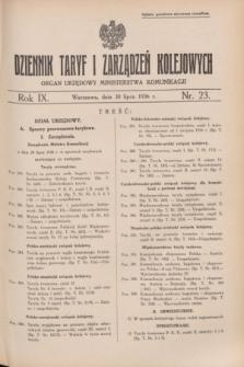 Dziennik Taryf i Zarządzeń Kolejowych : organ urzędowy Ministerstwa Komunikacji. R.9, nr 23 (30 lipca 1936) + wkładka