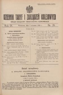 Dziennik Taryf i Zarządzeń Kolejowych : organ urzędowy Ministerstwa Komunikacji. R.9, nr 28 (3 września 1936)
