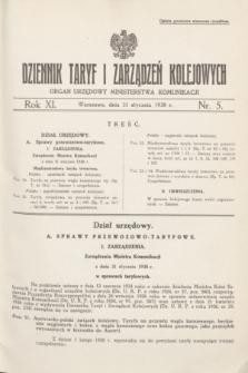 Dziennik Taryf i Zarządzeń Kolejowych : organ urzędowy Ministerstwa Komunikacji. R.11, nr 5 (31 stycznia 1938)