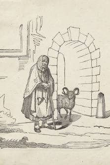 [Stara kobieta wsparta na kiju, obok w przejściu bramnym widoczny baran]