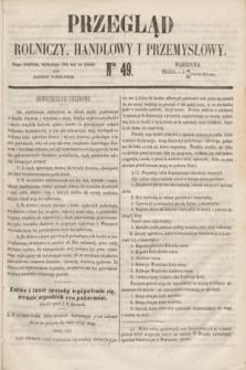 Przegląd Rolniczy, Handlowy i Przemysłowy : pismo bezpłatne, wychodzące dwa razy na tydzień przy Dzienniku Warszawskim. 1853, nr 49 (22 czerwca)