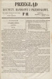 Przegląd Rolniczy, Handlowy i Przemysłowy : pismo bezpłatne, wychodzące dwa razy na tydzień przy Dzienniku Warszawskim. 1853, nr 98 (11 grudnia)