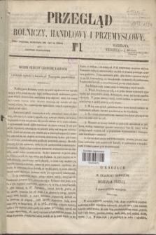 Przegląd Rolniczy, Handlowy i Przemysłowy : pismo bezpłatne, wychodzące dwa razy na tydzień przy Dzienniku Warszawskim. 1854, nr 1 (1 stycznia)