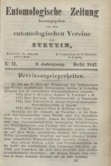 Entomologische Zeitung herausgegeben von dem entomologischen Vereine zu Stettin. Jg.3, No. 12 (December 1842) + wkładka