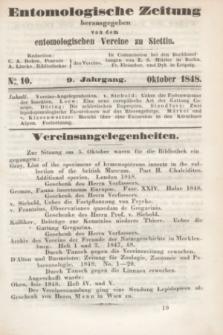 Entomologische Zeitung herausgegeben von dem entomologischen Vereine zu Stettin. Jg.9, No. 10 (Oktober 1848)