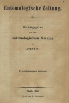Entomologische Zeitung herausgegeben von dem entomologischen Vereine zu Stettin. Jg.29, No. 1-3 (Januar-März 1868) + wkładka