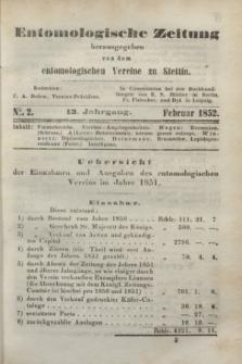 Entomologische Zeitung herausgegeben von dem entomologischen Vereine zu Stettin. Jg.13, No. 2 (1 Februar 1852)