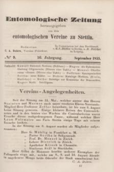Entomologische Zeitung herausgegeben von dem entomologischen Vereine zu Stettin. Jg.16, No. 9 (September 1855)