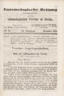 Entomologische Zeitung herausgegeben von dem entomologischen Vereine zu Stettin. Jg.16, No. 12 (December 1855) + wkładka