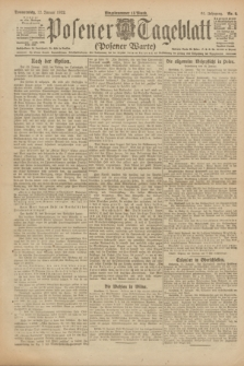 Posener Tageblatt (Posener Warte). Jg.61, Nr. 9 (12 Januar 1922) + dod.
